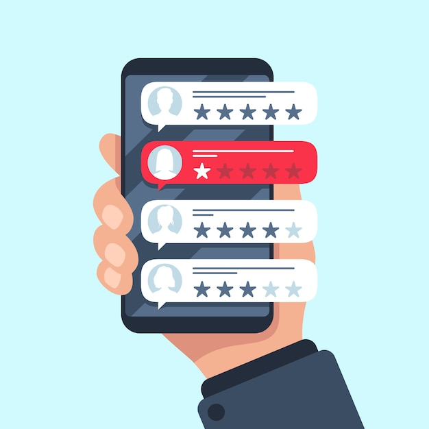 Rating review bubble, reviewers texting on cellphone app, choice bad or good 5 star ratings, flat Premium Vector