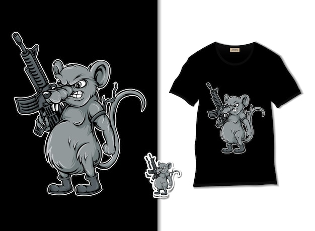 Rats soldier with a gun illustration Premium Vector