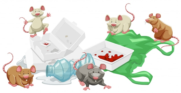 Rats in the trash pile Free Vector