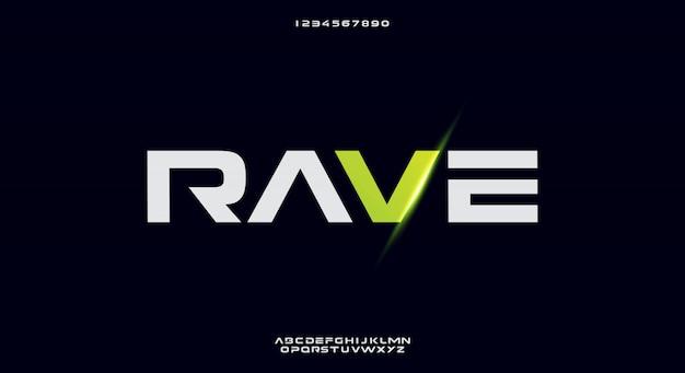 Rave、テクノロジーをテーマにした抽象的な未来的なアルファベットのフォント。モダンなミニマリストのタイポグラフィデザイン Premiumベクター