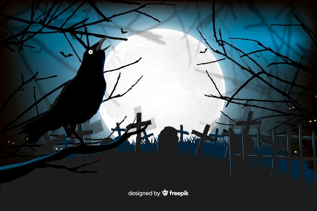 Raven in a cemetery halloween background Free Vector