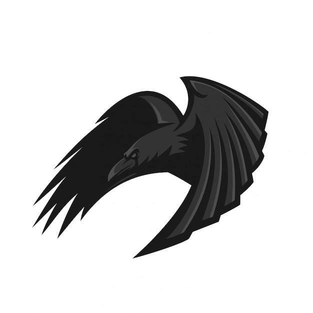 Raven esport gaming mascot logo template Premium Vector