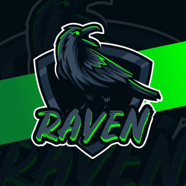 Raven mascot esport logo design character Premium Vector