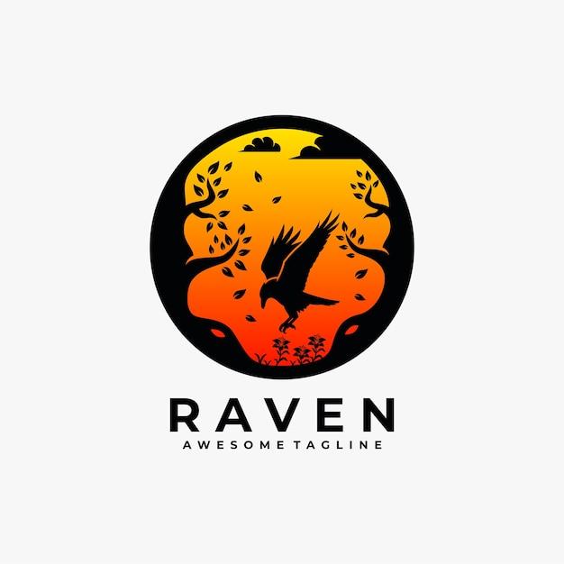 レイヴンサンセット抽象的なロゴデザインイラスト Premiumベクター