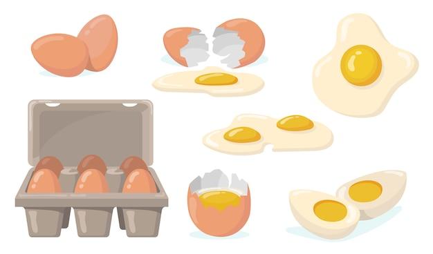 날것, 깨짐, 삶은 계란, 튀긴 계란 플랫 아이템 세트. 노란색 노른자 고립 된 벡터 일러스트 컬렉션 만화 국내 닭고기 달걀. 유기농 농산물 및 식품 개념 무료 벡터