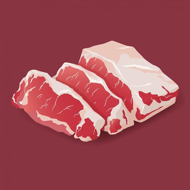 Сырцовый стейк говядины мрамора свежего мяса изолированный на белизне. значок свежего мяса Premium векторы