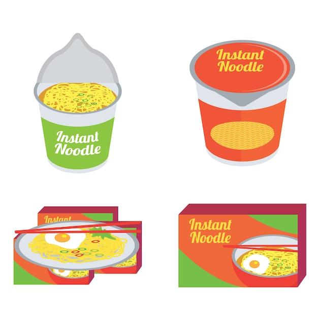 Raw instant noodles Premium Vector