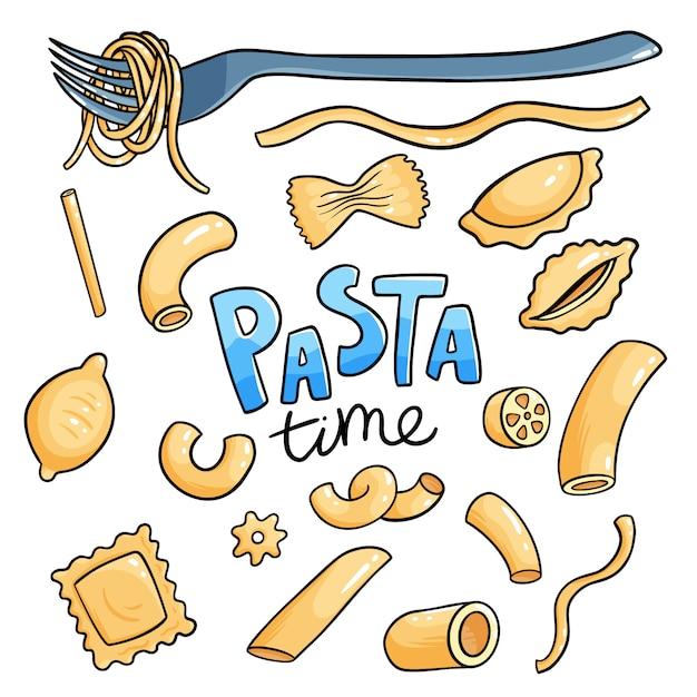 Сырье итальянская паста набор. пенне, фузилли и ригатони сухие макароны изолированные коллекции. веганская еда приготовления иллюстрации Premium векторы