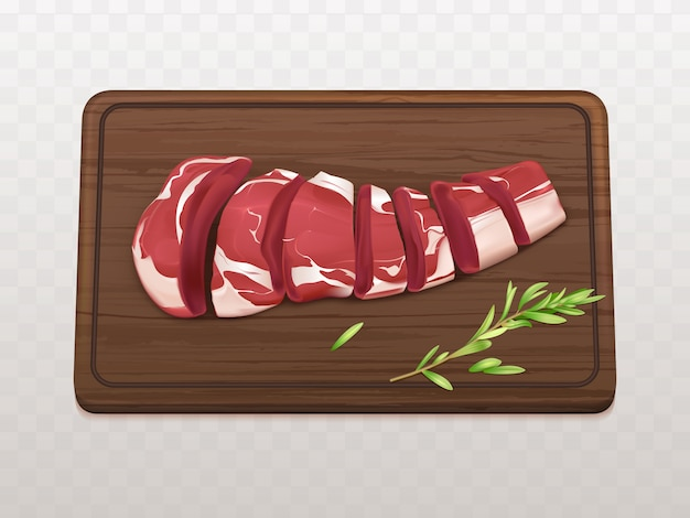 Raw marbled meat fillet sliced on pieces or portions to cook steak or grill with spices on cutting board Free Vector