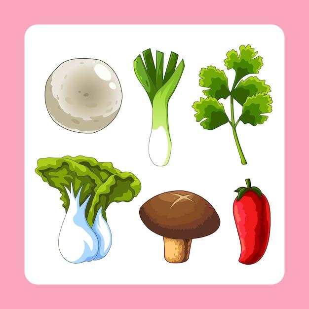 Raw material of food cartoon vector Premium Vector