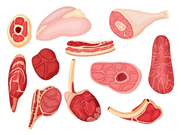 Сырое мясо. свинина, баранина или говяжья вырезка, отбивная, ребро и стейк. мультфильм значок сырого мяса на белом фоне. еда для барбекю иллюстрации. различный вид продуктов мясного магазина Premium векторы