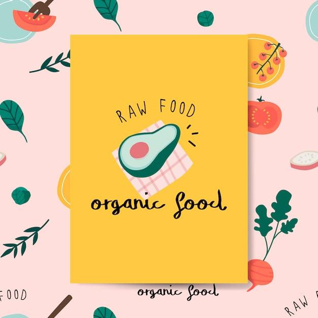 Raw organic food avocado card vector Free Vector