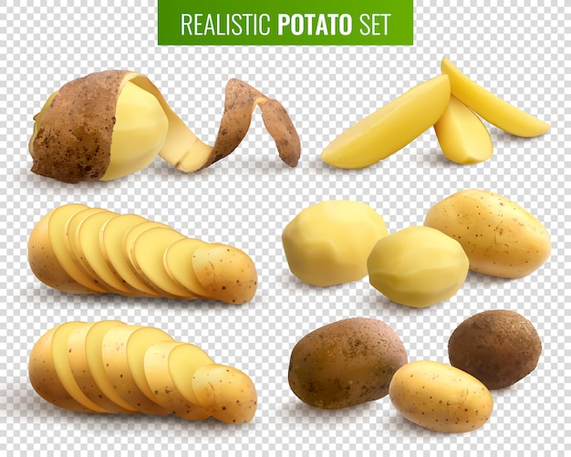 Raw potatoes set with whole root crops and sliced pieces Free Vector