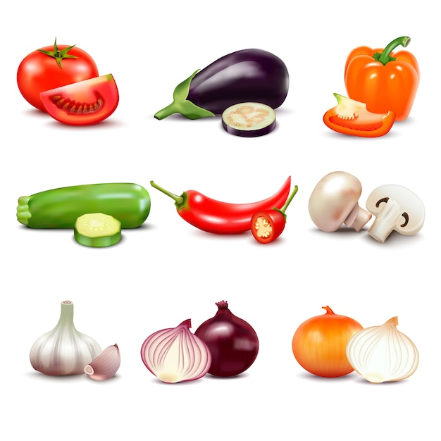 Raw vegetables with sliced isolated realistic  icons with pepper eggplant garlic mushroom courgette Free Vector