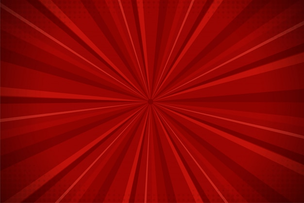 Ray red abstract comic cartoon sunlight background. Premium Vector