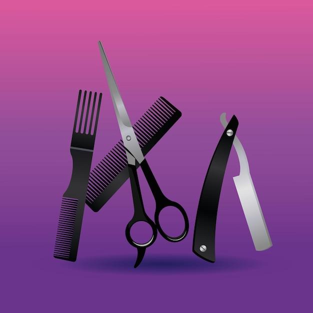 Бритва и ножницы с расческой парикмахерские инструменты оборудование значки иллюстрации Premium векторы