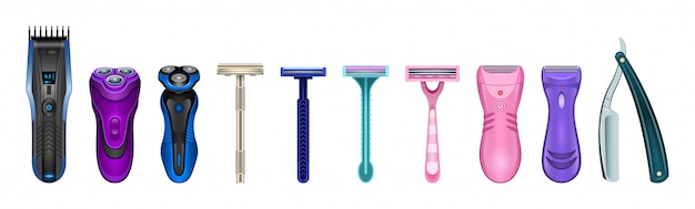 Razor isolated realistic set icon.  illustration shaver on white background .  realistic set icon accessory for shave. Premium Vector