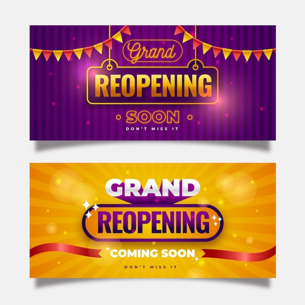 Re-opening banner template design Free Vector