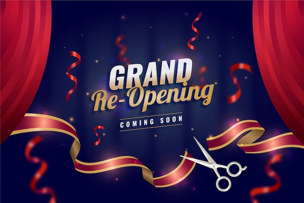 Re-opening soon background theme Premium Vector
