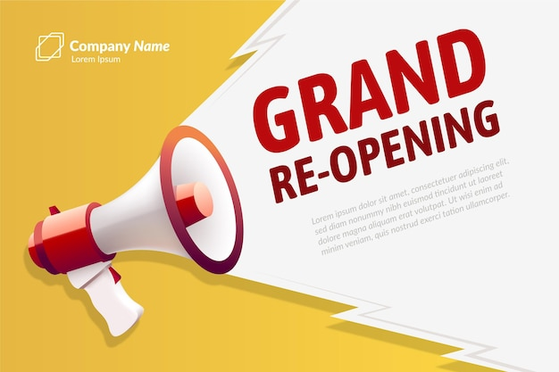 Re-opening soon background Free Vector