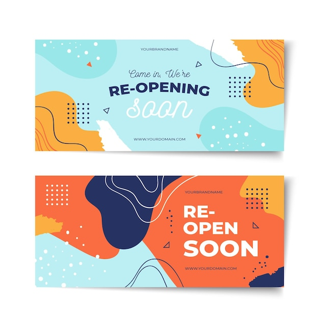 Re-opening soon banner template Free Vector