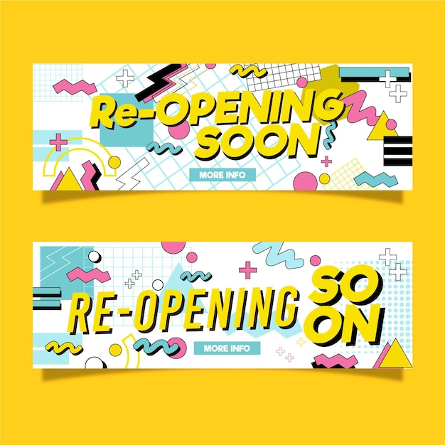 Re-opening soon banner Free Vector