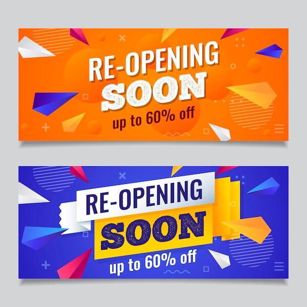 Re-opening sooner banner pack Free Vector