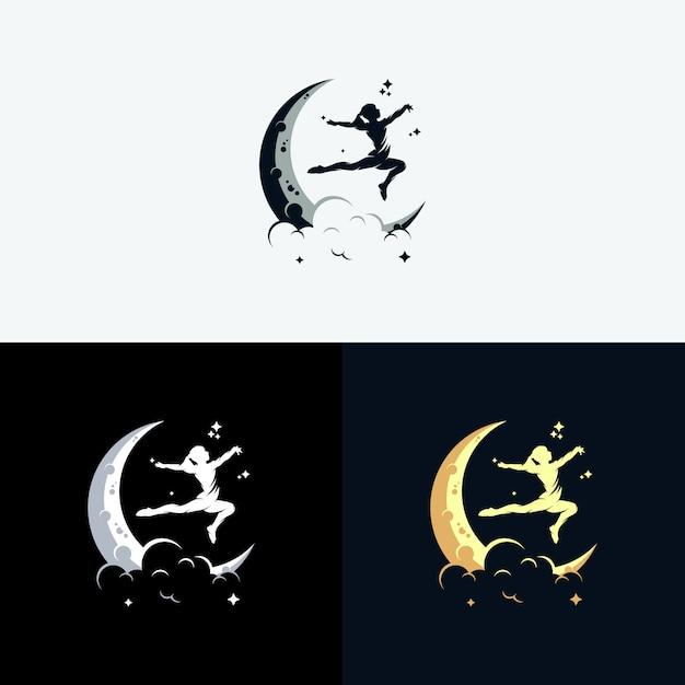 月のシンボルが付いたdreamsロゴに到達する Premiumベクター