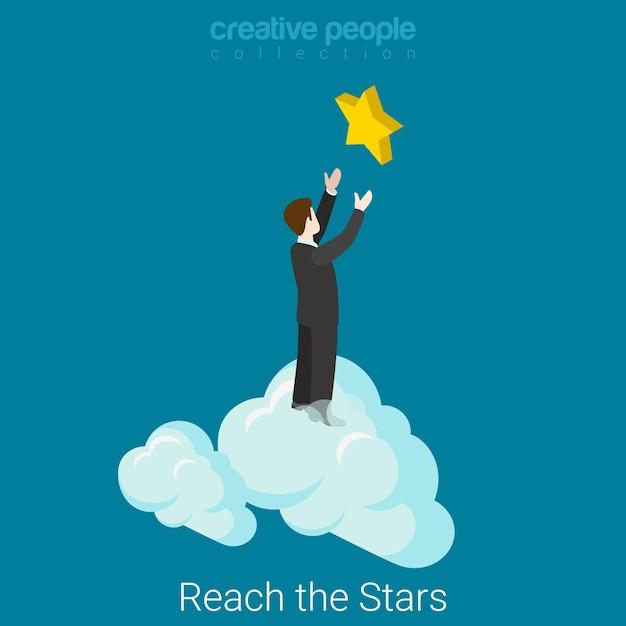 Raggiungere il concetto di successo aziendale isometrico piatto stelle uomo d'affari in nuvole raggiungendo le mani alla stella. Vettore gratuito