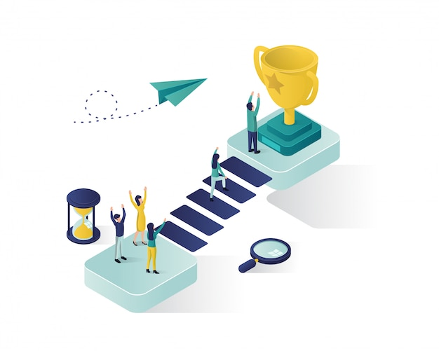 Reaching the success isometric illustration. Premium Vector
