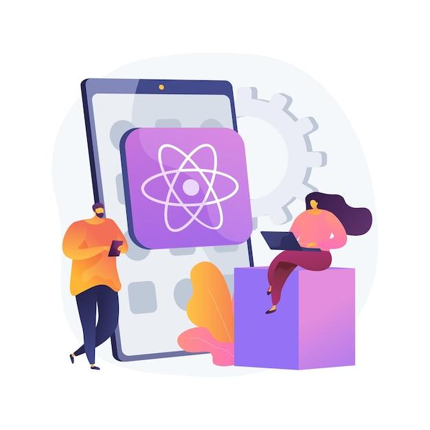 React native mobile app abstract concept   illustration. cross-platform native mobile app development framework, javascript library, user interface, operating system Free Vector