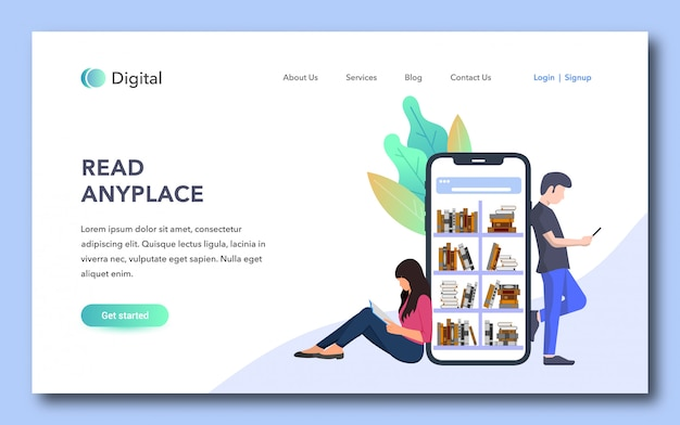 Read anyplace landing page design Premium Vector