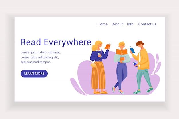 どこでもランディングページのベクターテンプレートをお読みください。フラットのイラスト付きの書店のウェブサイト。図書館ホームページのレイアウト。 Premiumベクター