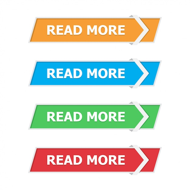 Read more buttons set in a flat with arrow on white Premium Vector