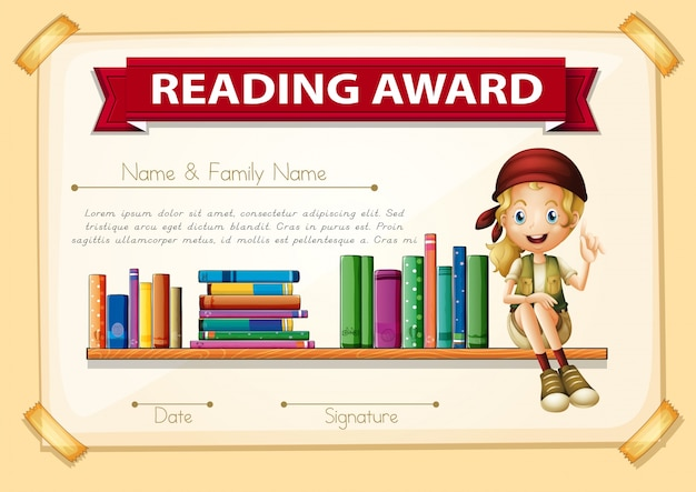 Reading award with girl and books Free Vector