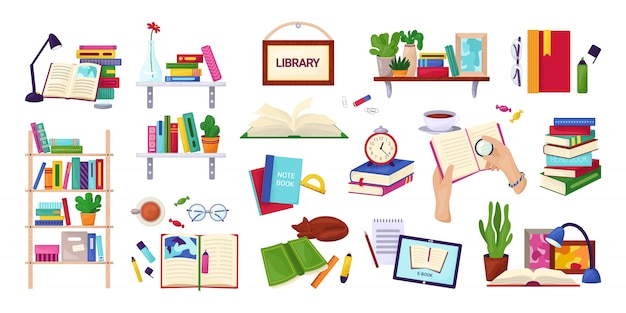 Reading books, education and library concept, set of  on white  illustrations. encyclopedia, textbook icons, stack of books, hands with notebook. study and knowledge. Premium Vector