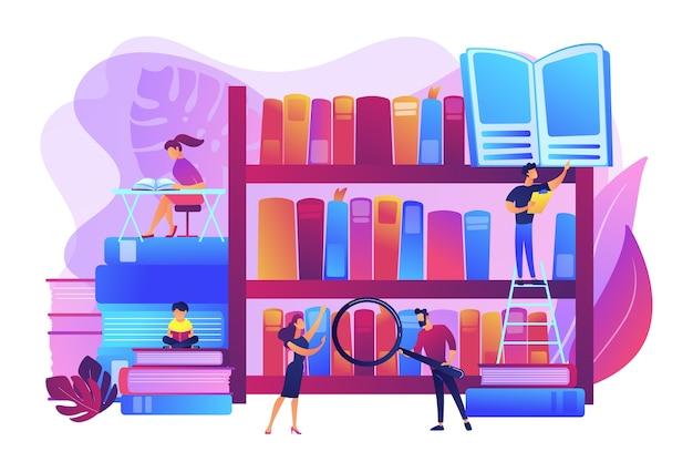 Чтение книг, энциклопедий. студенты учатся, учатся. мероприятия в публичных библиотеках, бесплатные уроки и семинары, концепция помощи в выполнении домашних заданий в библиотеке. яркие яркие фиолетовые изолированные иллюстрации Бесплатные векторы