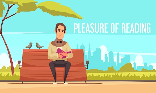 Reading books  with pleasure of reading symbols flat Free Vector
