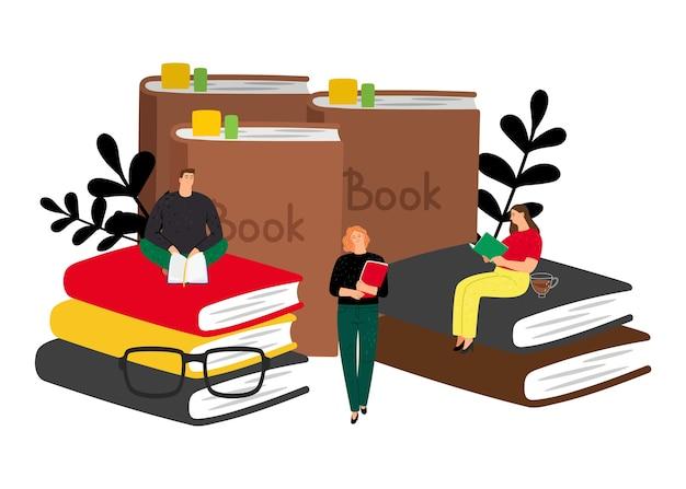 Концепция чтения. векторные книги и крошечные люди. студенты с книгами, мужские женские плоские герои мультфильмов Premium векторы