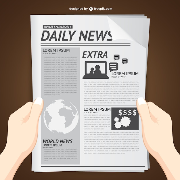 Reading Daily News Vector Free Download
