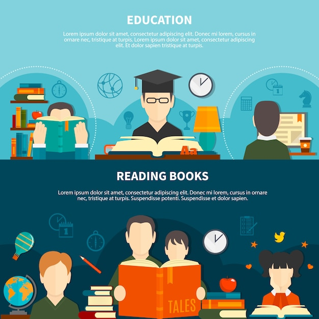 Reading horizontal banners Free Vector