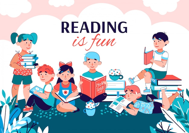 Reading is fun with children reading books in summer park. Premium Vector