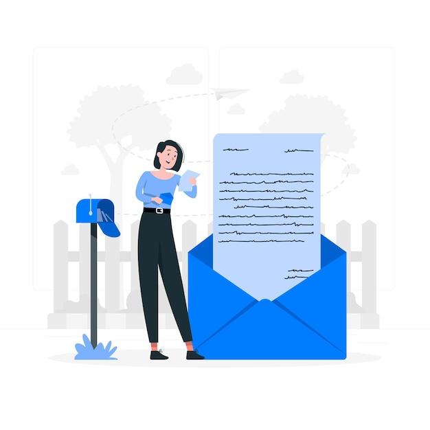 Leggere un'illustrazione di concetto di lettera Vettore gratuito