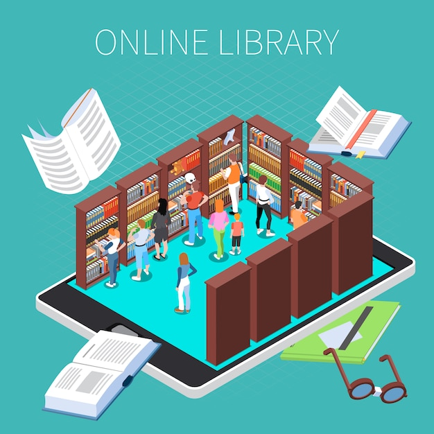 Reading and library composition with online library symbols isometric Free Vector