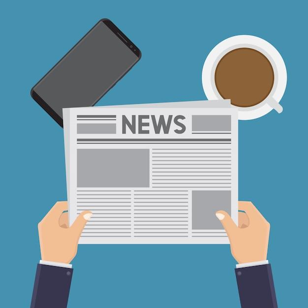 Reading news flat Premium Vector