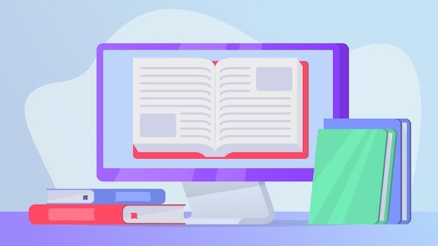 Чтение онлайн книг концепции с открытой книгой на экране ноутбука Premium векторы
