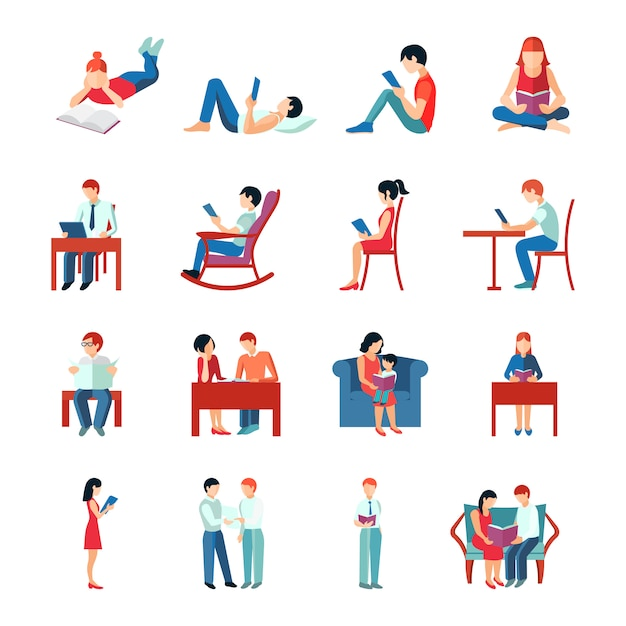 Reading people flat character set Free Vector