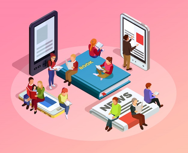 Reading people isometric composition Free Vector