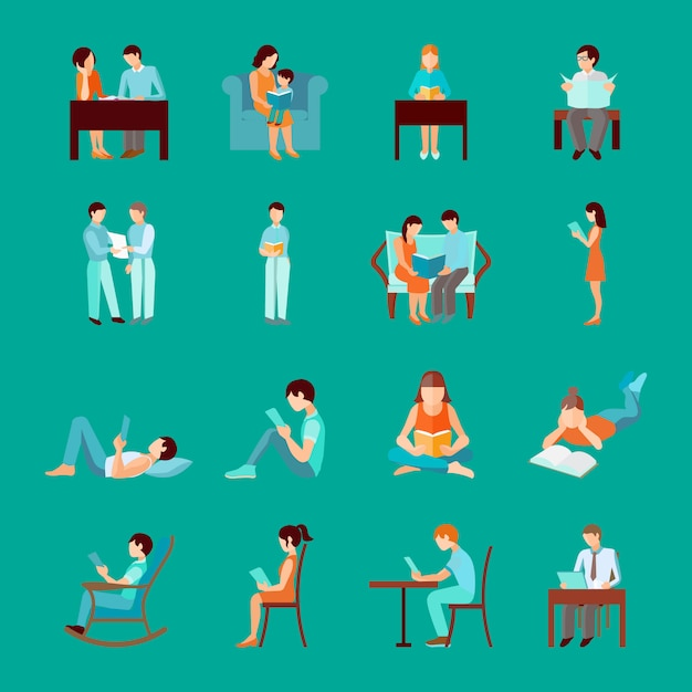 Reading people laying sitting and standing figures set Free Vector
