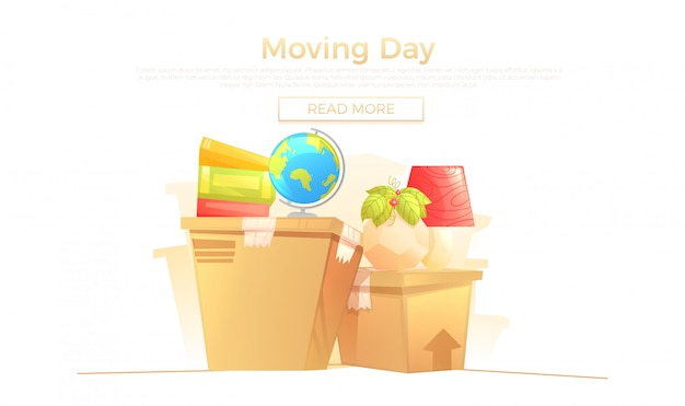 Ready move to new house banner concept Free Vector